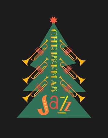Christmass jazz trumpets tree flat color vector