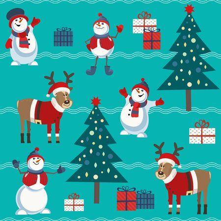 Cute snowman and reindeer vector seamless pattern