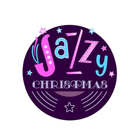Jazzy Christmas hand drawn flat vector sticker