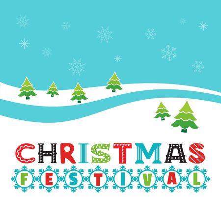 Christmas festival hand drawn poster template