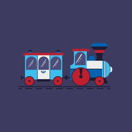 Comic steam train flat color vector icon