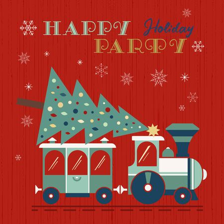 Christmas train with tree fancy holiday poster Ilustração