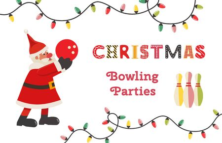 Template Design Poster Christmas bowling vector  イラスト・ベクター素材