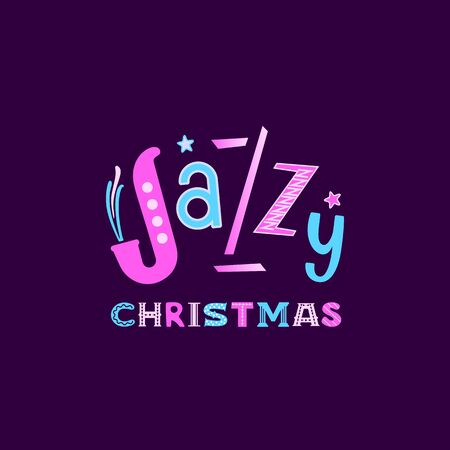 Jazzy Christmas hand drawn flat vector lettering Ilustração