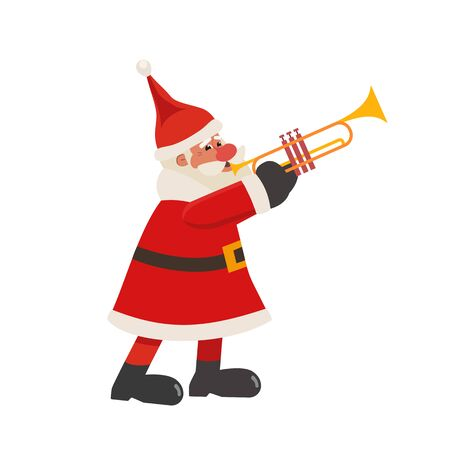 Santa Claus play trumpet flat color vector icon  イラスト・ベクター素材