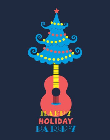 Happy holiday party christmas tree flat color vector Ilustração