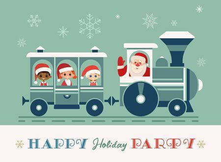 Santa Christmas train holiday party vector poster