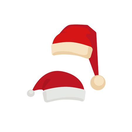 Santa Claus red hat icon flat vector set isolated