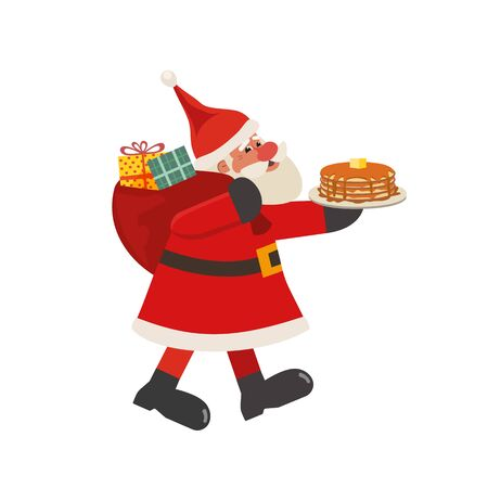 Santa Claus and pancakes isolated flat vector icon