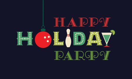 Bowling happy holiday party flat vector greeting