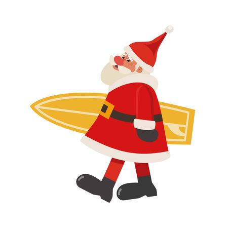 Santa Claus with surfboard flat vector isolated icon. Cute Father Christmas surfer cartoon. Winter New year holiday vacation design element. Christmas season sea fun rest trip background Illustration Ilustração