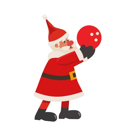 Santa Claus play bowling flat color vector icon  イラスト・ベクター素材