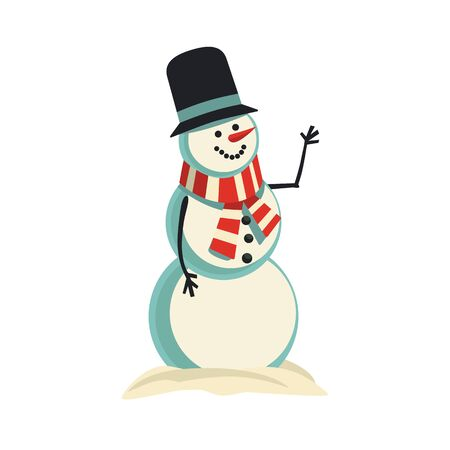 Cute snowman vector icon isolated on white. Holiday cartoon playful fun snow ball character. Merry Christmas winter season greeting card template. New Year eve party banner design element illustration  イラスト・ベクター素材
