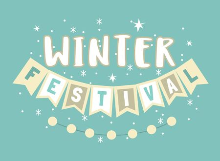 Winter festival hand drawn typographic vector element. Fancy letters, flags, snowflakes cartoon. Text isolated, blue background. Winter season fun fest invitation. Welcome flyer template illustration  イラスト・ベクター素材