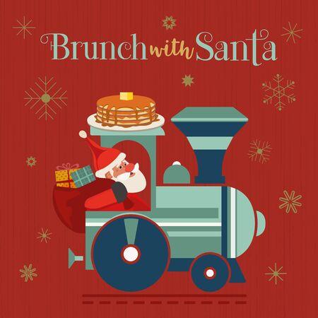 Brunch with Santa Fancy Holiday vector flat poster. Cute Santa deliver pancakes in retro train cartoon. Fun breakfast Christmas kids enjoy. New Year eve festive menu invitation background Illustration