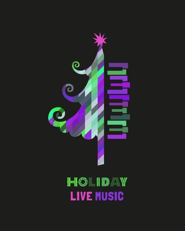 Template Design Poster with piano keyboard silhouette, Christmas tree. Design idea Live Music Holiday Festival show announce advertisement. Season event background vector vintage illustration A4 size