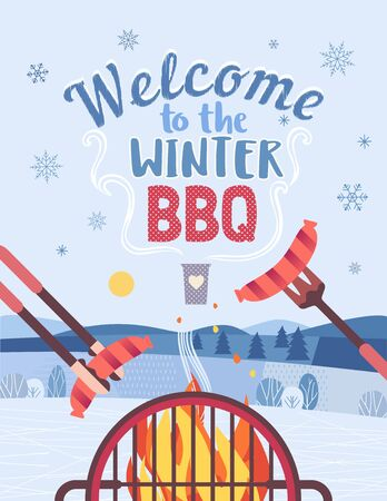 Winter outdoors concept. Cartoon retro style poster. Welcome invitation to barbecue picnic. Season holiday leisure banner background. Mountain lake snow valley. Flaming BBQ grill. Vector illustration