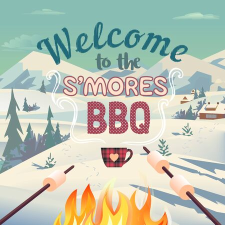 Winter BBQ welcome invitation vector poster. Outdoors fun retro cartoon. Welcome invitation to s'mores picnic. Winter season holiday leisure banner background. Marshmallow roasting illustration