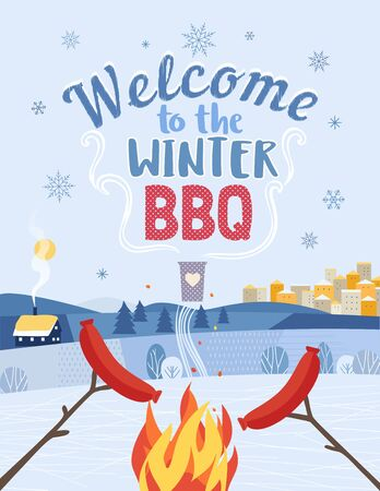 Winter BBQ welcome invitation vector poster. Cartoon retro style outdoor concept. Welcome invitation to barbecue picnic. Winter season holiday leisure banner background. Lake snow valley illustration