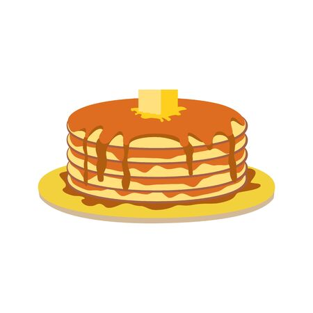 Stack of pancakes with maple syrup, butter slice vector icon. Hand drawn pancakes portion on plate cartoon. Buttermilk cakes design element. American breakfast food, restaurant background illustration