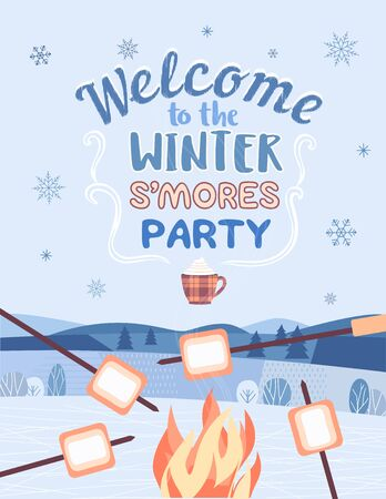Winter smore party welcome invitation vector poster. Outdoor fun retro cartoon. Welcome invitation to s'mores picnic. Winter season holiday leisure campfire background. Marshmallow roast illustration
