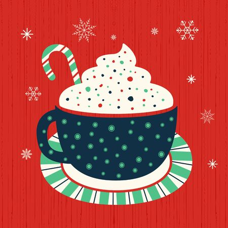 Hot cocoa mug whipped cream flat vector icon. Winter hot chocolate cup marshmallow cartoon. Cute hand drawn coffee mug design element. Cold winter season hot cocoa bar menu background illustration