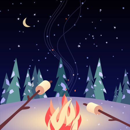 Prawoślazu pieczenia ręcznie rysowane płaski kolor wektor ikona. Marshmallows na stiksach w nocnym ognisku kreskówka. Zima charakter zabawy na świeżym powietrzu party znak. Zima sezon ognisko plakat tło ilustracja