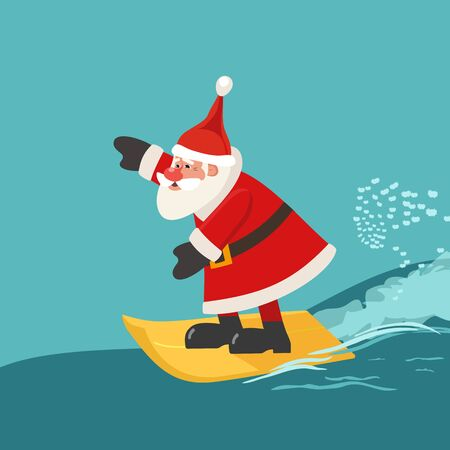 Winter holiday seaside vacation icon. Hand drawn cute surfing Santa cartoon. Christmas season sea fun rest. Quirky surfer Santa Claus enjoy surfing on ocean waves. Vector new year travel background
