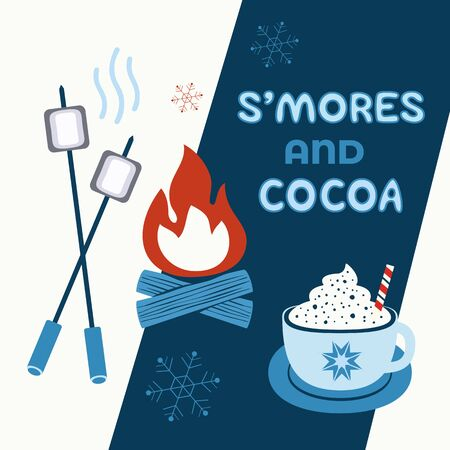 Warm cozy smores and cocoa station welcome sign vector icon. Roast marshmallows hot cocoa chocolate cup bar entertaining illustration. Seasonal outdoor activity background. Winter campfire fun treat
