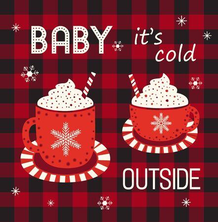 Hot cocoa cup whipped cream flat vector icon. Winter hot drink chocolate cup cartoon. Buffalo plaid snowflakes background. Coffee mug cute design. Cold winter season warm cocoa bar menu illustration 向量圖像