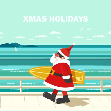 Winter holiday seaside vacation concept. Hand drawn ocean water cartoon. Christmas season sea fun rest. Quirky surfer Santa Claus enjoy surfing on ocean coast. Vintage vector new year trip background  イラスト・ベクター素材