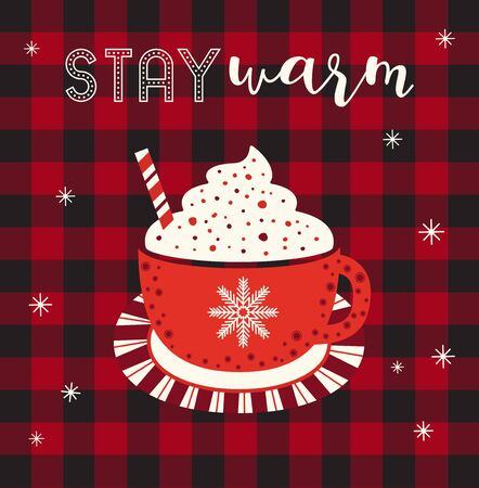 Hot cocoa cup whipped cream flat vector icon. Winter hot drink chocolate cup cartoon. Buffalo plaid snowflakes background. Coffee mug cute design. Cold winter season warm cocoa bar menu illustration 向量圖像