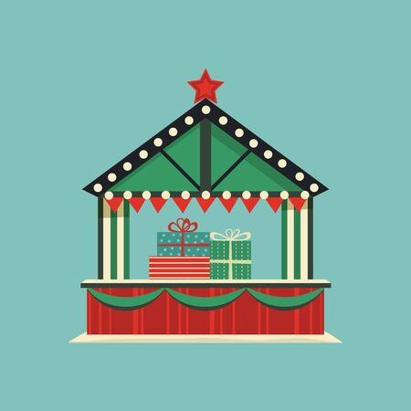 Market holiday stall flat vector icon. Christmas gift boxes decoration shop retro color cartoon. Town outdoor fair tent. New years eve bazaar wooden kiosk. Festive shopping background illustration