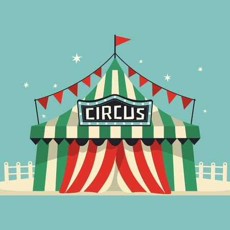Circus performance tent cute flat vector icon. Cute entertainment tent colorful cartoon. Hand drawn amusement park leisure activity sign design. Traveling carnaval fun show background illustration