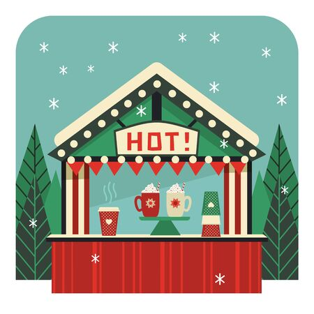 Hot drinks street stall flat color vector icon