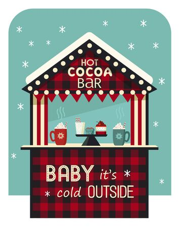 Hot drinks street stall flat color vector icon. Wooden kiosk, coffee beverage mug cute cartoon. Town outdoor hot cocoa bar tent buffalo plaid background. Cold season warm cocoa bar design illustration  イラスト・ベクター素材