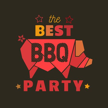 BBQ grilled meat flat hand drawn vector color icon. Barbecue picnic design element. Grilling pork cartoon emblem. Grill bbq restaurant party sign. Isolated Scandinavian cartoon illustration