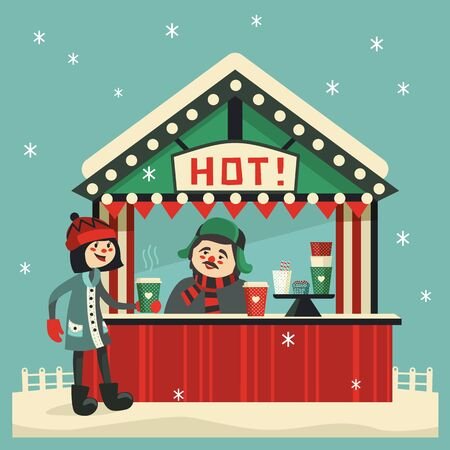 Hot drinks street stall flat vector icon. Girl with hot coffee cup, seller in wooden kiosk cute cartoon. Town outdoor drink tent sign. Warm up beverages station in cold season background illustration