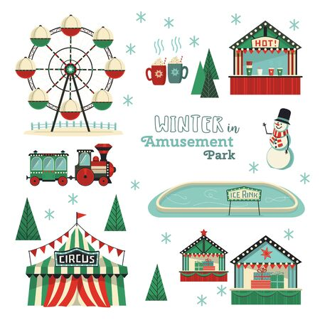 Conjunto de iconos de vector plano de parque de atracciones de invierno