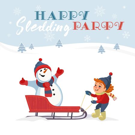 Happy sledding party invitation vector template. Baby girl, snowman in sled cute cartoon. Winter park outdoor sledging activity, family fun background. Snow party celebration Save Date illustration Illusztráció