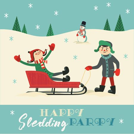 Happy sledding party invitation vector template