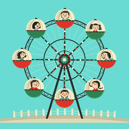Happy kids ride on Ferris wheel flat color vector