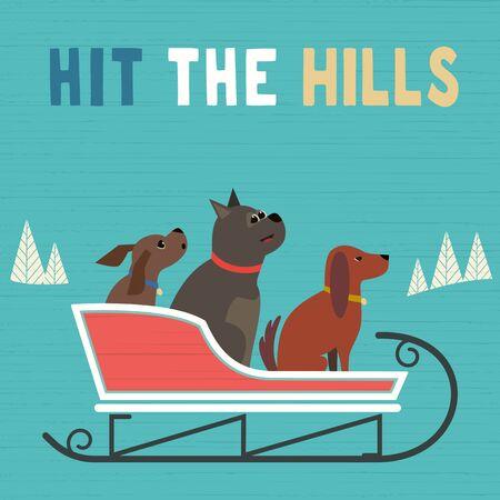 Happy sledding party invitation vector poster  イラスト・ベクター素材
