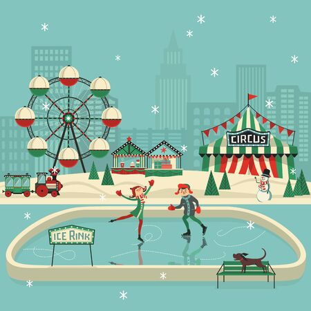 Cute boy and girl skating on ice flat vector. Comic happy small girl, boy skating cartoon. Winter amusement park sport fun enjoy on ice rink. Winter outdoor leisure activity background illustration