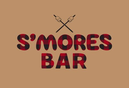 Smores bar flat vector typography poster. Buffalo plaid letter marshmallow screw sign. Cold winter season hot cocoa bar menu design element. Marshmallow roast cartoon fun treat illustration background