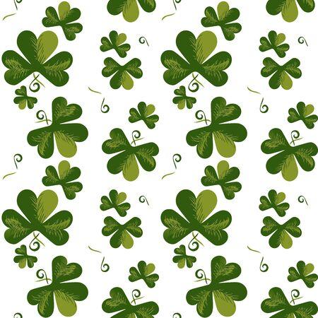 Shamrock sketch seamless pattern vector. Hand drawn vintage garland design element. Green doodle foliage of clover leaves. St Patricks Day background decorative shamrock ornament cartoon illustration