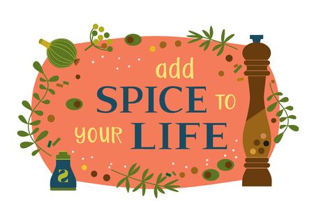 Motivated Quote Add spice to life. Motivating remain happy vector poster Concept. Design idea quoted banner background. Positive thinking motivation words. Quote to challenge life cartoon illustration Illusztráció