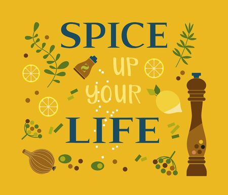 Motivated Quote Spice up life. Motivating remain happy vector poster Concept. Design idea quoted banner background. Positive thinking motivation words. Quote to challenge life cartoon illustration Ilustração
