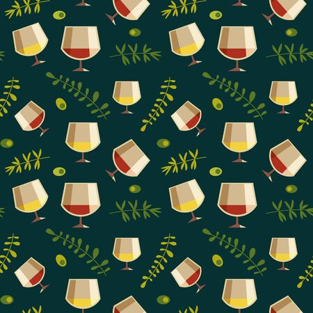 Red white wine glass flat vector seamless pattern Ilustrace
