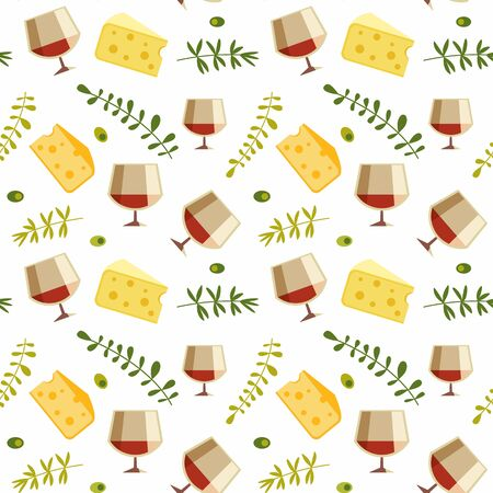 Red wine glass cheese flat vector seamless pattern